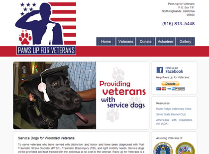 Paws Up for Veterans Homepage